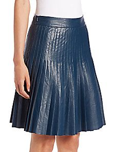 Rebecca Taylor - Faux-Leather Pleated Skirt