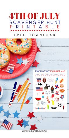 Fun For the Kids: of July Scavenger Hunt Printable Fourth Of July Drinks, 4th Of July Party, July 4th, Patriotic Party, Patriotic Decorations, Diy Party Supplies, Free Art Prints, July Crafts, Independence Day