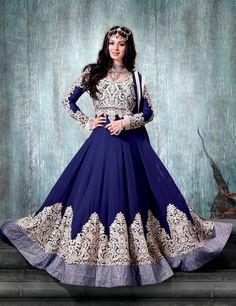 Blue Ayesha Takia Designer Indian Anarkali Suit in georgette C15525