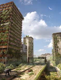 Post Apocalyptic Ruined City in Stunning Post Apocalypse Artworks The overgrown greenary in the buildings is a good effect showing dystopian elements. Post Apocalypse, Apocalypse World, Apocalypse Survival, 3d Fantasy, Fantasy Landscape, Art Internet, Apocalypse Landscape, Post Apocalyptic City, Ruined City