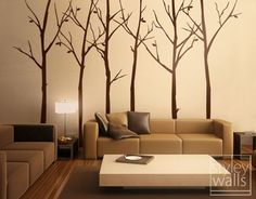 Forest Winter Trees 100 inches - Set of 6 Vinyl Wall Decal - brown and cream living room