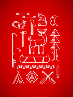 Spalding Design // Camp Piomingo Summer Camp poster (Red) // Camp Piomingo // Andrew Spalding, Illustrator
