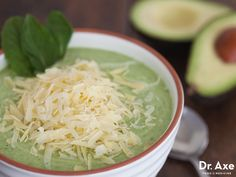 This Creamy Cucumber Avocado Soup recipe is refreshing, delicious and full of healthy fats! Omit cheese for paleo. Cucumber Soup Recipe, Avocado Soup, Avocado Recipes, Raw Food Recipes, Soup Recipes, Diet Recipes, Vegetarian Recipes, Cooking Recipes, Healthy Recipes