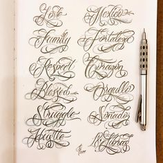 I'll probably do names next time. Any requests? Chicano Tattoos Lettering, Tattoo Lettering Design, Graffiti Lettering Fonts, Wolf Tattoo Design, Tattoo Design Drawings, Creative Lettering, Typography, Tattoo Fonts Alphabet, Hand Lettering Alphabet