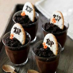 Might do this for Walking Dead party... Just chocolate pudding with Oreo sprinkled on top. Genius. Looks cool :)