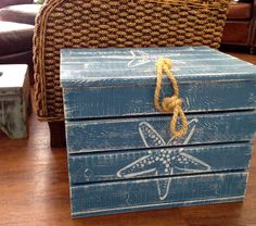 Crab Crate Side Table Treasure Chest Trunk Starfish Scallop by CastawaysHall Beach House Decor by CastawaysHall on Etsy https://www.etsy.com/listing/129083901/crab-crate-side-table-treasure-chest