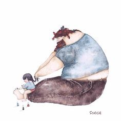 "The Love Between Dads And Their Little Girls In Heartwarming Illustrations By Ukrainian Artist Snezhana Soosh. ""Dad by my side"" series of watercolor illustrations show the magic and beauty of this relationship. Art And Illustration, Illustrations, Watercolor Illustration, Father And Daughter Love, Father Daughter Relationship, Love Dad, Watercolor Sketch, Little Girls, Dads"