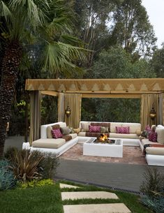 ~ OUTDOOR LIVING ~ ...at it's most inviting I'd say...not practical in our dusty Arizona high desert...but I must say it's inspiring and don't ever say I can't figure out how to make this work !  I love it and have a pergola I'm going to design to work with this idea ! ~