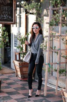 Cashmere wrap sweater + coated skinny jeans | Extra Petite | Bloglovin'