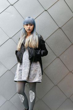 Casual punk, grunge style. Pastel blue hair