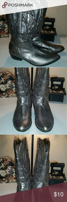 """Silver cowboy boots Silver scratchy , puffy texture cowboy pull on boots size 7.5, with 1-1/2"""" heel, pointed toe, brand name Coconut , style called Gaucho Coconut Shoes Ankle Boots & Booties"""
