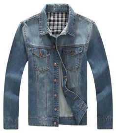 Chouyatou Men's Classic Distressed Jean Jacket Plus Size XX-Large Light Blue - Brought to you by Avarsha.com