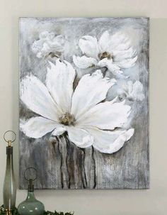 The art enthusiast in you is sure to love the Uttermost White Magic Wall Art . Hand crafted on canvas that's stretched tightly over wooden stretching. Oil Painting Abstract, Abstract Canvas, Oil Paintings, Flower Canvas, Flower Art, Mini Canvas Art, Abstract Flowers, Painting Flowers, Acrylic Art