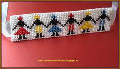 lucru manual adelina: Bratara tricolor etamina cusaturi traditionale Hor... Kids Bracelets, Friendship Bracelets, All Craft, Loom Beading, Cross Stitch Designs, Beads, Creative, Blog, Crafts