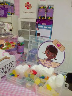 Candy treats at a Doc McStuffins birthday party! See more party planning ideas at CatchMyParty.com!