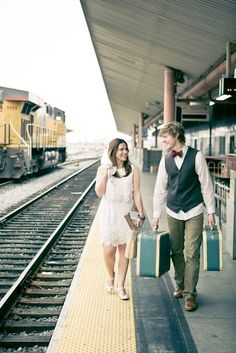 anniversary shoot at the train station with vintage luggage  #onelovephotography