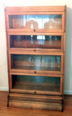Macy Vintage Oak 4 Stack Barrister Bookcase with Paneled Sides ...