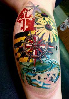 Colour Tattoo For Women, Color Tattoo, Body Art Tattoos, Sleeve Tattoos, Tatoos, Maryland Tattoo, Birthday Tattoo, Local Girls, Black Eyed Susan