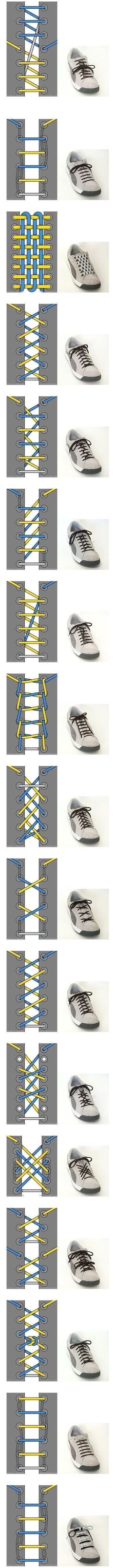 Cool Ways To Tie Your Shoe Laces ~ shoe lace patterns ~ Will have to remember this when the kids finally get shoes with laces. Your Shoes, Good To Know, Life Hacks, Creations, Geek Stuff, Good Things, Manly Things, Simple Things, Mens Fashion