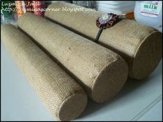 Handmade displays with recycled materials (PVC pipe, burlap) for craft show displays