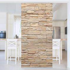Raumteiler   Asian Stonewall   Große Helle Steinmauer Aus Wohnlichen  Steinen 250x120cm