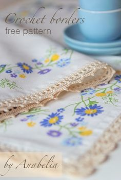 Crochet borders for tablecloth 17 by Anabelia. borders #1 and #2