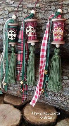 Fabric Christmas Ornaments, Holiday Fun, Christmas Crafts, Christmas Decorations, Decor Crafts, Diy And Crafts, Arts And Crafts, Spool Crafts, Sewing Crafts