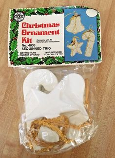 VINTAGE 1982 HOLIDAY INDUSTRIES CHRISTMAS Sequinned Trio ORNAMENT KIT NEW