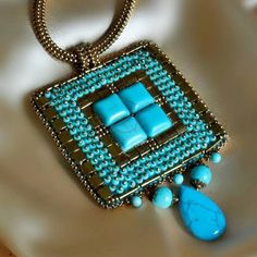 Bead Embroidery Necklace - Turquoise Necklace- Bronze Necklace - Bronze Necklace- Bead Embroidered Necklace-Handmade by BobeIkotics on Etsy