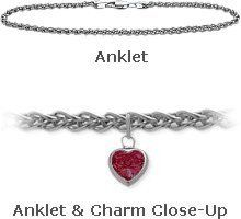 """14K 9"""" White Gold Wheat Style Created 0.90 tcw. Ruby Stone Heart Charm Anklet Elite Jewels. $219.50. Save 35%!"""