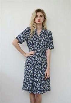 Vintage+floral+dress+midi+longl+tea+print+pattern