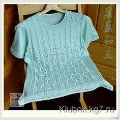 Ажурный пуловер с коротким рукавом | Клубок