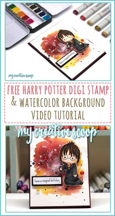 Free Harry Potter Digi Stamp & Watercolor Background Video Tutorial hi Harry Potter Birthday Cards, Harry Potter Cards, Harry Potter Free, Harry Potter Drawings, Harry Potter Planner, Harry Potter Printables, Digi Stamps Free, Digital Stamps, Copic Markers Tutorial
