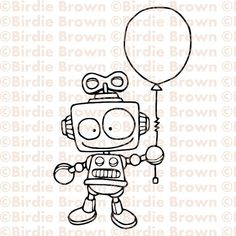 *embroidery idea* Digital stamp -- Robot with a balloon Drawing For Kids, Art For Kids, Coloring Books, Coloring Pages, Creation Art, Kawaii Doodles, Digital Stamps, Cute Drawings, Doodle Art