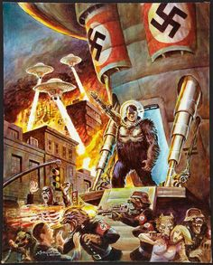 """Cover painting by Don Marquez for """"Nazi Werewolves from Outer Space"""" Wow this book covered all the bases."""