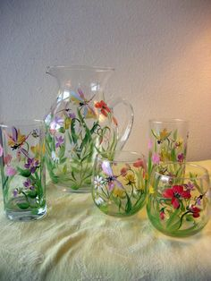 Set of 8 glasses and matching pitcher, dragonflies and wildflowers,