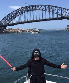 Kylo Ren taking over Sydney #madmonday #kyloren #starwars #darlingharbour #sydneyharbourbridge #sydneyharbour #lit by bennuggetkearins http://ift.tt/1NRMbNv