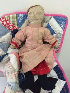 Sweet Early Original Antique Homespun American Primitive Folk Art Cloth Rag Doll