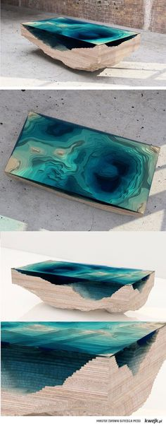 Made from a single blue pine live edge slab with a stunning Baja tinted epoxy river flowing through it. Resin Furniture, Cool Furniture, Furniture Design, Unusual Furniture, Wood Resin, Resin Art, Landscape Model, Arch Model, 3d Models