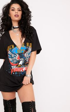 Rock and Riot Slogan Extreme Plunge Cut Out T Shirt Dress