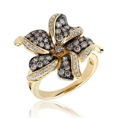 Diamond and Chocolate Diamond Flower Ring 1ctw