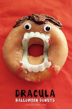 Dracula Halloween Donuts. Easy no bake dessert or breakfast fun food for kids! Halloween  Monster Doughnuts are perfect for a Halloween Party or kids activity. /livinglocurto/