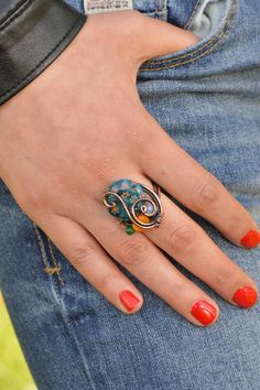 Hey, I found this really awesome Etsy listing at https://www.etsy.com/listing/186264306/venetian-murano-glass-ring-wire-wrapped