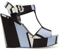 b7dddb5d16f Dolce   Gabbana Striped Pastel Canvas Wedge Heel Sandals