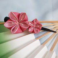 Pink kikyo kanzashi clip by elblack