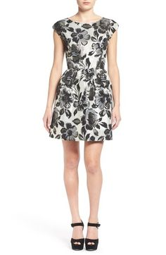 One Clothing Metallic Floral Print Skater Dress available at #Nordstrom