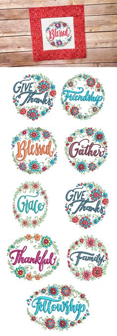 Our Floral Wreaths Gratitude set features 8 beautiful floral wreaths surrounding inspiring words of gratitude. Includes 4 sizes: 4x4, 5x7, 6x10, and 8x8