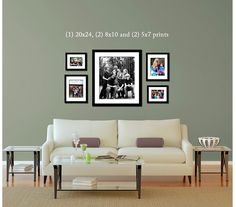 4 smaller framed prints and one large clustered over a couch or loveseat