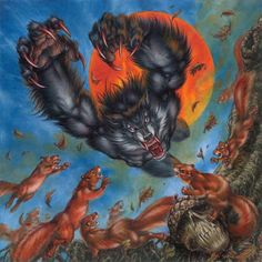 Gathering Magic's Original Artists on Kickstarter Fantasy Creatures, Mythical Creatures, Werewolf Art, Howl At The Moon, Vampires And Werewolves, World Of Darkness, Big Bad Wolf, Classic Monsters, Creatures Of The Night