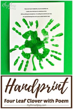 Handprint clover craft for kids - Use this four leaf clover handprint poem printable art template to make a clover handprint at home, or, in the classroom. A gift idea mom, dad, and the grandparents LOVE! Dyi, Easy Diy, Handprint Poem, Diy And Crafts, Crafts For Kids, Diy Wood Wall, Unicorn Ornaments, Diy Blanket Ladder, Martha Stewart Crafts